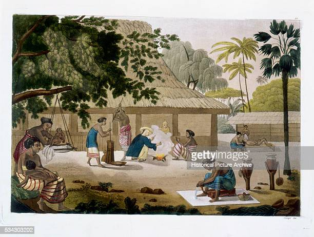 'Book Illustration of Domestic Life in Kupang Timor '