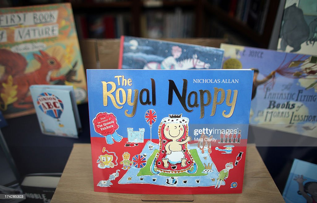 A book is displayed in a shop to celebrate the Royal birth on July 23, 2013 in Tetbury, England. Catherine, Duchess of Cambridge yesterday gave birth to a boy at 16.24 BST and weighing 8lb 6oz, with Prince William, Duke of Cambridge at her side. The baby, as yet unnamed, is third in line to the throne and becomes the Prince of Cambridge.