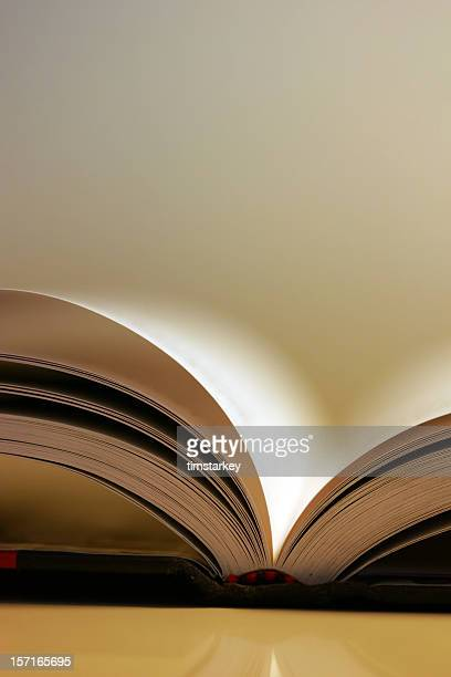A book laying open with a blurred background
