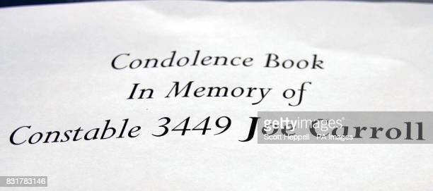 A book of condolence opened in memory of Pc Joe Carroll who was killed yesterday when his patrol car veered off the A69 near Corbridge Northumberland...
