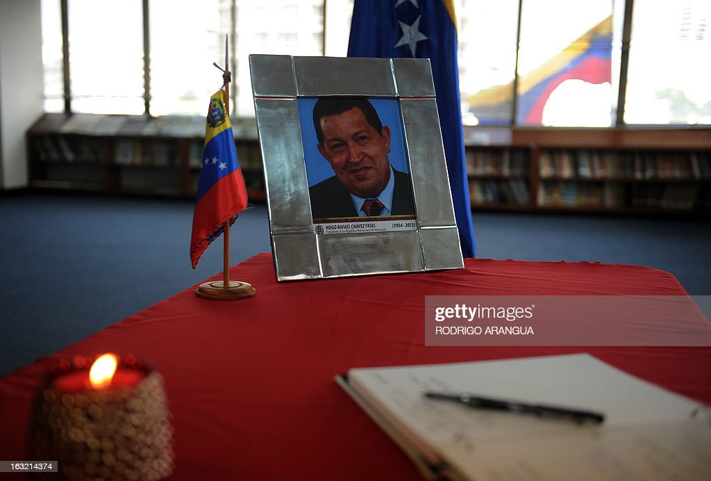 A book of condolences for the death of Venezuelan President Hugo Chavez is seen at the Venezuelan embassy in Panama on March 6, 2013. Condolences poured in Wednesday from world leaders who had found common cause with Venezuela's Hugo Chavez in his 14-year campaign to galvanize the Latin American left and defy US 'imperialism.' AFP PHOTO/ Rodrigo ARANGUA