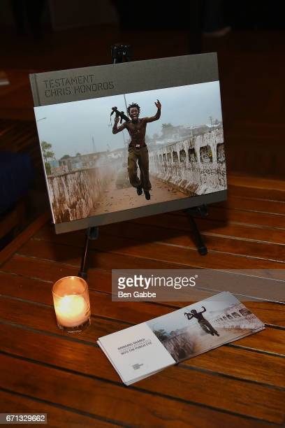 A book of photos by Chris Hondros on display at the 'Hondros' Premiere After Party during Tribeca Film Festival at STK Rooftop on April 21 2017 in...