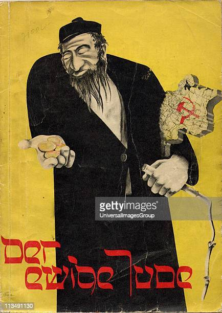 JUDE book of phtographs published by the Third Reich Dramatic Antisemitic illustration on the cover showing a Jew holding gold coins in one hand and...