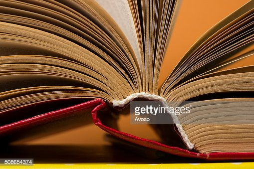 Book pages macro view. Toned image. Copy space for text : Stock Photo