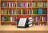 Book reader on the blurred background; 3d illustration