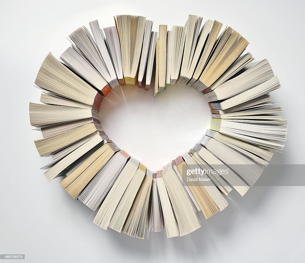 Book spines forming a heart shape