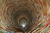 book tunnel in Prague library -- mirrors are used to create this effect
