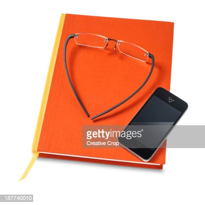 A book with glasses and smart phone : Stock Photo
