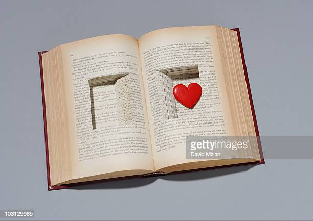 Book with heart in cut out compartment.