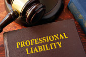 Book with title professional liability and gavel.
