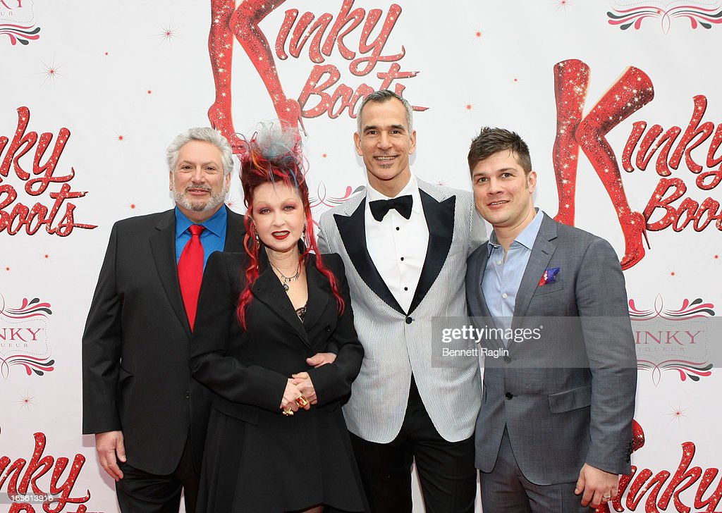 Book Writer Harvey Fierstein, Composer Cyndi Lauper, Director/ Choreographer Jerry Mitchell, and Music Supervisor Stephen Oremus attend Media Opening for Kinky Boots on Broadway at the Al Hirschfeld Theatre on April 4, 2013 in New York City.