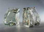 Bookends 1950s solid crystal made by Fontana Arte Italy 21st century