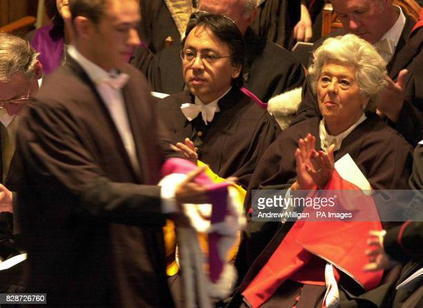 Booker Prizewinning author Kazuo Ishiguro and Baroness Boothroyd await their honorary degrees from St Andrews University