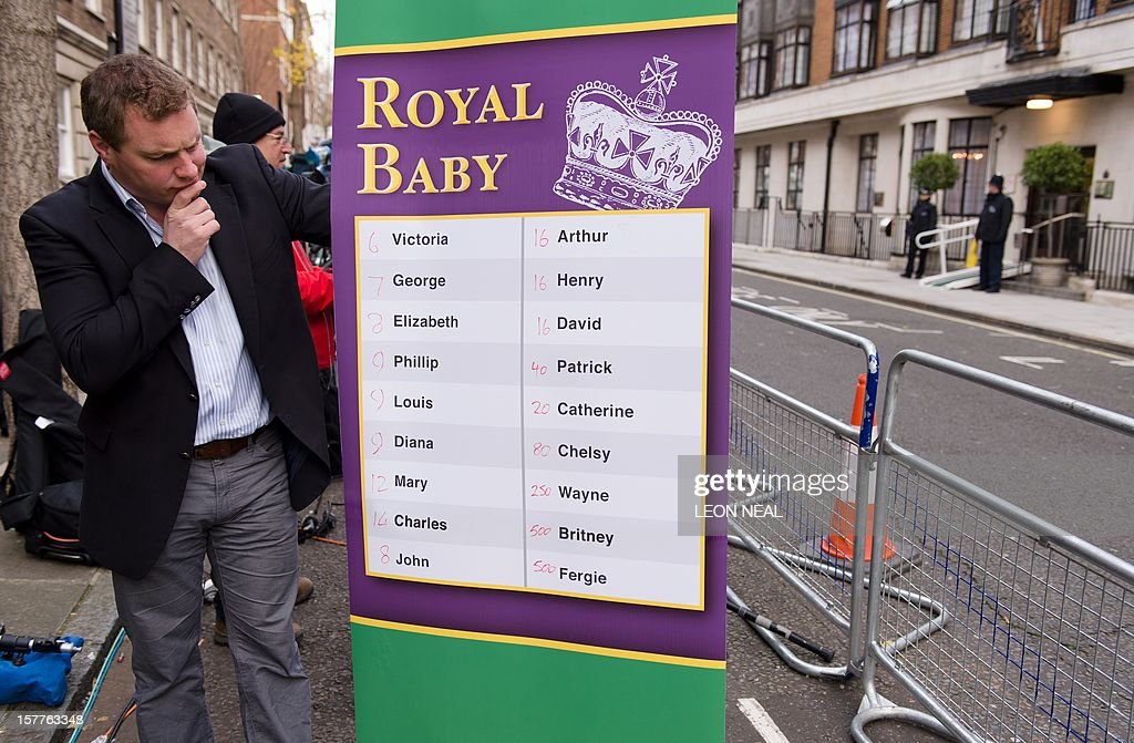 A bookmaker poses with a list of possible baby names before Britain's Catherine, Duchess of Cambridge, wife of Prince WiIliam, leaves the King Edward VII hospital in central London, on December 6, 2012. Prince William's pregnant wife Catherine left a London hospital on December 6, four days after she was admitted for treatment for acute morning sickness. AFP PHOTO/Leon Neal