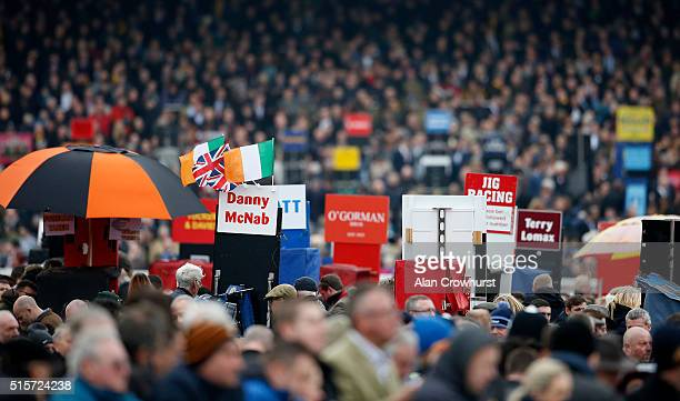 Bookmakers boards at Cheltenham racecourse on March 15 2016 in Cheltenham England