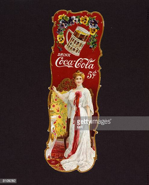 A bookmark featuring American opera star Lillian Nordica and advertising CocaCola