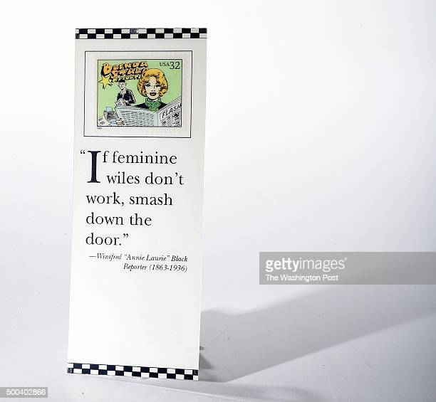 A bookmark with a quote is photographed at The Washington Post via Getty Images on Wednesday October 21 2015 in Washington DC