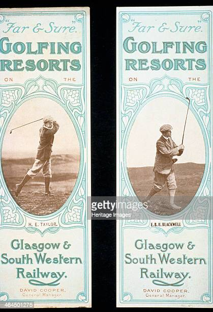 Bookmarks issued by the Glasgow South Western Railway c1900 Two bookmarks promoting golfing resorts served by the railway The golfers depicted are HE...