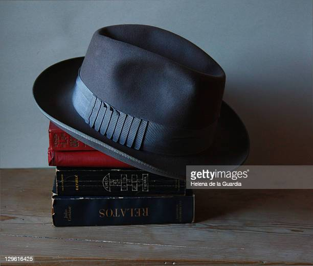 Books and hat on wooden table