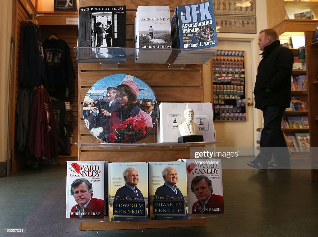 Books and memorabilia are for sale at the gift shop at Arlington Cemetery on November 19, 2013 in Arlington, Virginia. The 50th anniversary of President Kennedy's assassination is Friday November 22, 2013.