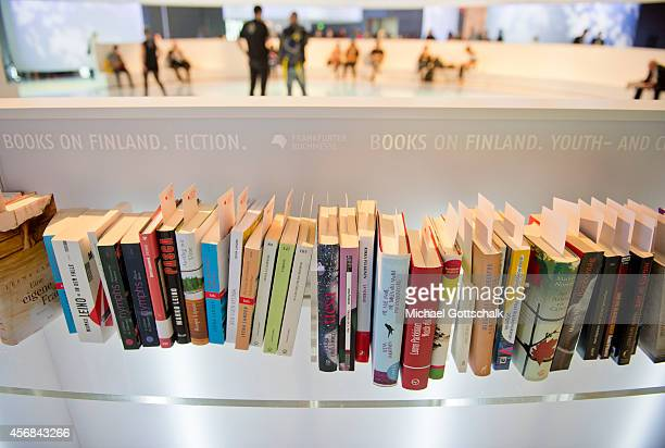 Books are presented by guest of honor Finland in their booth on October 08 2014 in Frankfurt am Main Germany The 2014 fair which is among the world's...