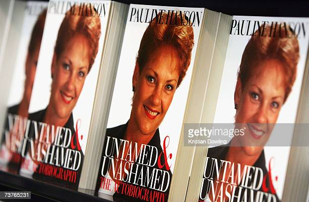 Books are seen on sale during former politician Pauline Hanson's signing of her autobiography 'Untamed Unashamed The Autobiography' at Angus...