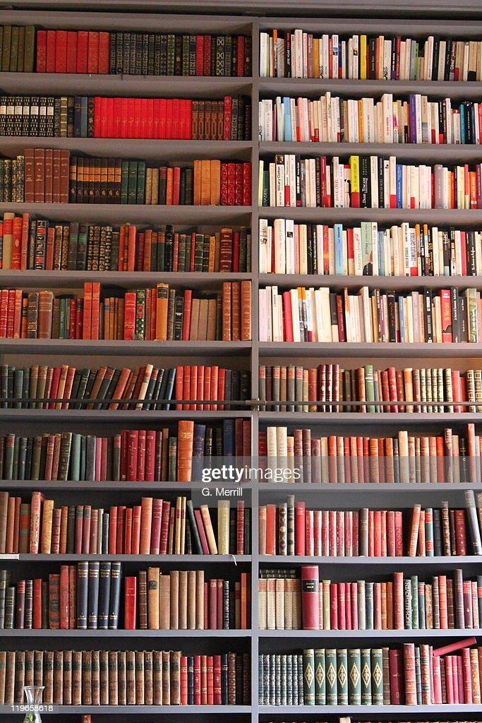 Books arranged neatly on shelf