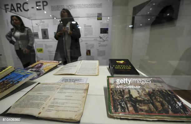 Books belonging to members of Revolutionary Armed Forces of Colombia seized by the Colombian army during the Fenix operation March 1 are on display...