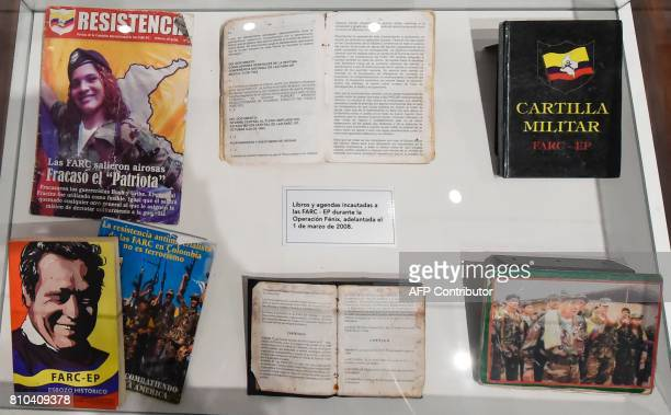 Books belonging to members of Revolutionary Armed Forces of Colombia seized by the Colombian army during the Fenix operation March 1 are on displayn...