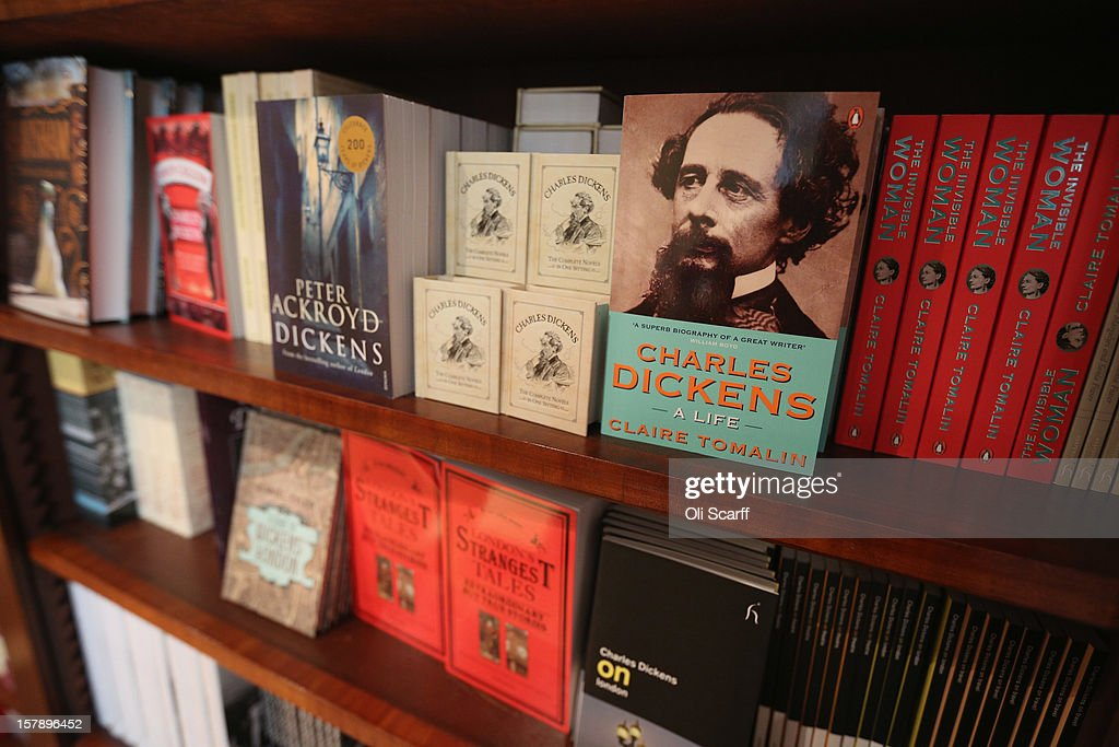 Books by, or relating to, Charles Dickens for sale inside the Charles Dickens Museum on December 7, 2012 in London, England. The museum will re-open to the public on December 10, 2012 following a major 3.1 million GBP refurbishment and expansion programme to celebrate Dickens' bicentenary year. The museum is located in Charles Dickens' house on Doughty Street where he lived from 1837 until 1839 and in which he wrote many novels including Oliver Twist and Nicholas Nickleby.