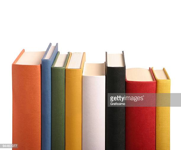 Books different colours in a row