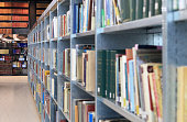 Books in modern library.