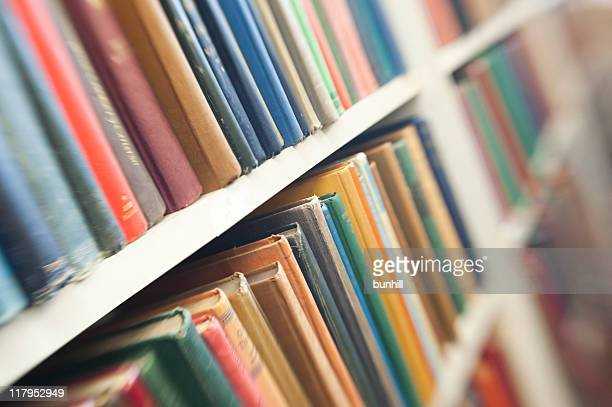 Books In Rows On Bookshelves