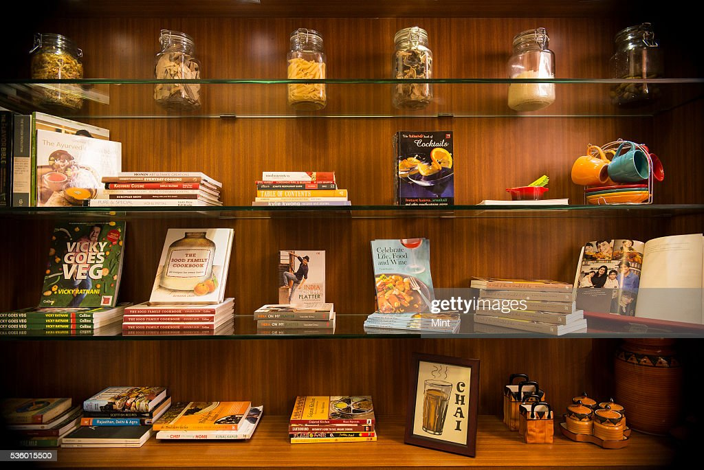 Books library of Food Book Club at studio of Rushina Ghidiyal in Andheri on November 29, 2015 in Mumbai, India.