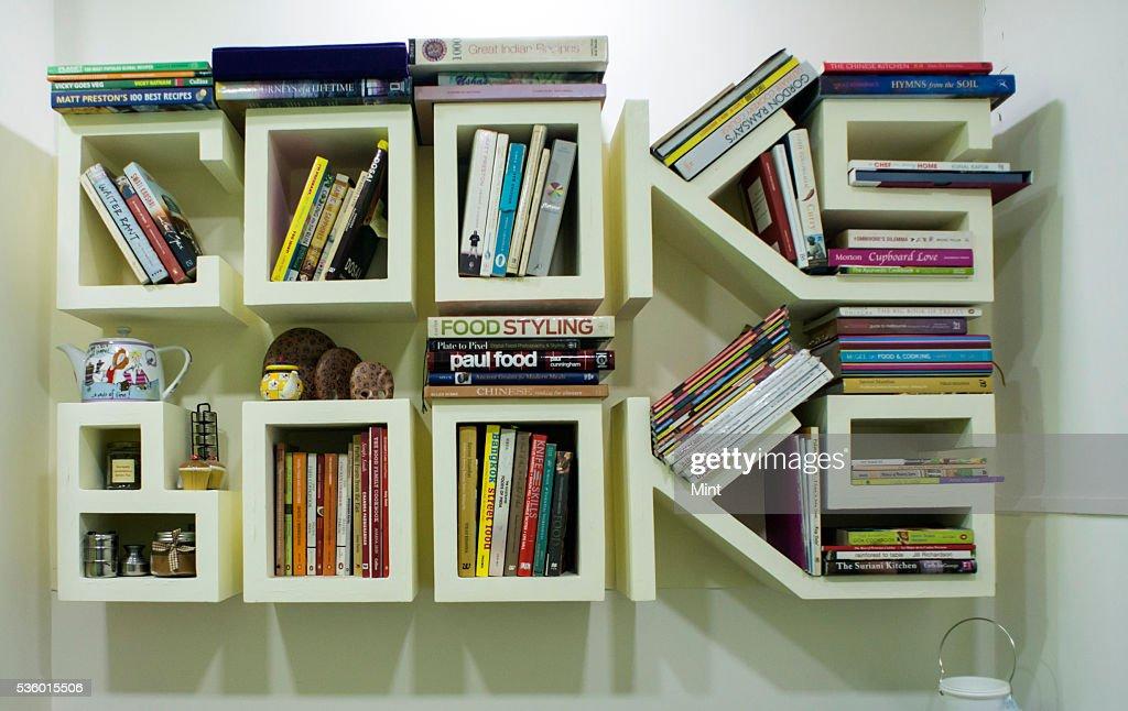 Books library of Food Book Club at studio of Rushina Ghidiyal in Andheri on November 29, 2015 in Mumbai, India.