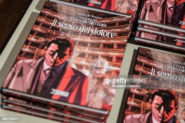 Books of Graphic Novel based on Commissario Ricciardi Novel Series by Maurizio De Giovanni are displayed during at presentation on October 16 2017 in...