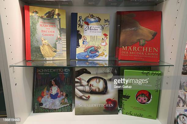 Books of Grimms' fairy tales stand on display for sale at the Grimm Brothers Museum on November 20 2012 in Kassel GermanyThe 200th anniversary of the...