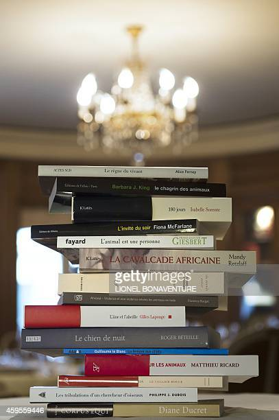 Books pile up at the Drouant restaurant in Paris on November 25 before the jury members award the '30 millions d'amis' literary prize AFP PHOTO /...