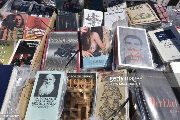 Books sit in a crate before being fixed onto the 'Parthenon of Books' by Argentinian artist Marta Minujin at the Documenta 14 art exhibition in...