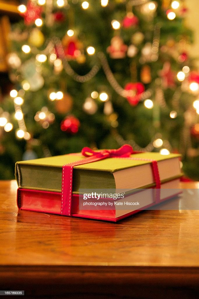 Books wrapped in red ribbion : Stock Photo