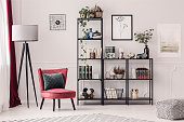 Black, metal bookshelf, lamp and red armchair in living room interior
