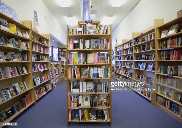 Bookshelves in bookstore
