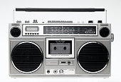 vintage 1980's stereo isolated on white