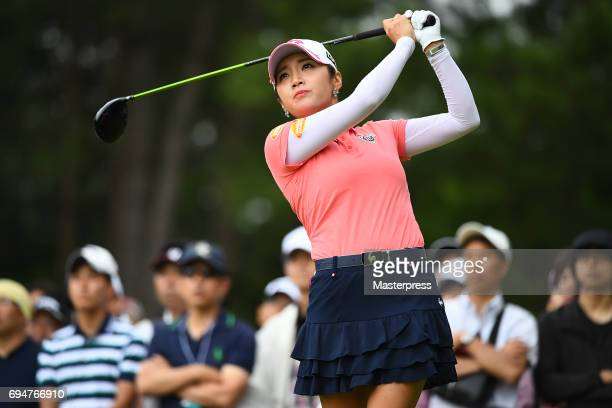 BooMee Lee of South Korea hits her tee shot during the final round of the Suntory Ladies Open at the Rokko Kokusai Golf Club on June 11 2017 in Kobe...
