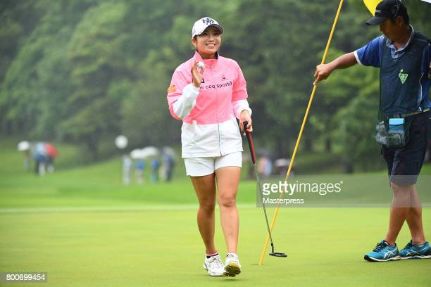 BooMee Lee of South Korea reacts on during the final round of the Earth Mondamin Cup at the Camellia Hills Country Club on June 25 2017 in Sodegaura...