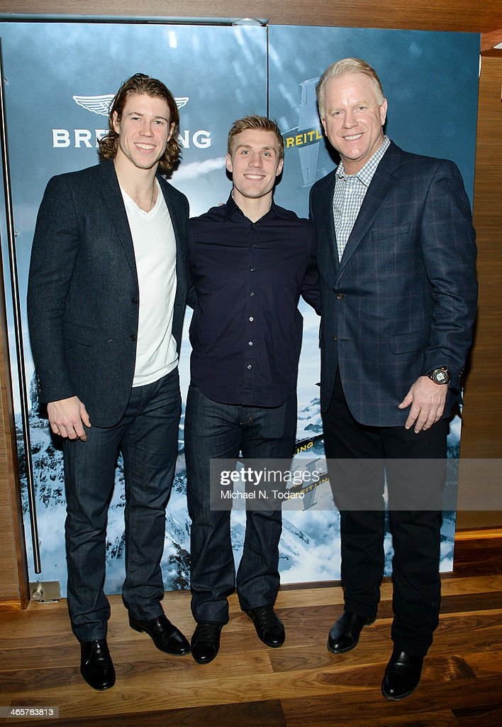 <a gi-track='captionPersonalityLinkClicked' href=/galleries/search?phrase=Boomer+Esiason&family=editorial&specificpeople=233805 ng-click='$event.stopPropagation()'>Boomer Esiason</a> (R) with Matt Martin (L) and <a gi-track='captionPersonalityLinkClicked' href=/galleries/search?phrase=Casey+Cizikas&family=editorial&specificpeople=4779392 ng-click='$event.stopPropagation()'>Casey Cizikas</a> attend the <a gi-track='captionPersonalityLinkClicked' href=/galleries/search?phrase=Boomer+Esiason&family=editorial&specificpeople=233805 ng-click='$event.stopPropagation()'>Boomer Esiason</a> Previews Super Bowl XLVIII With Guests At Breitling Boutique New York January 28, 2014 in New York City.