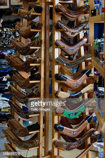 Boomerangs for sale on display at local store, Perth, Western Australia, Australia : Stock Photo