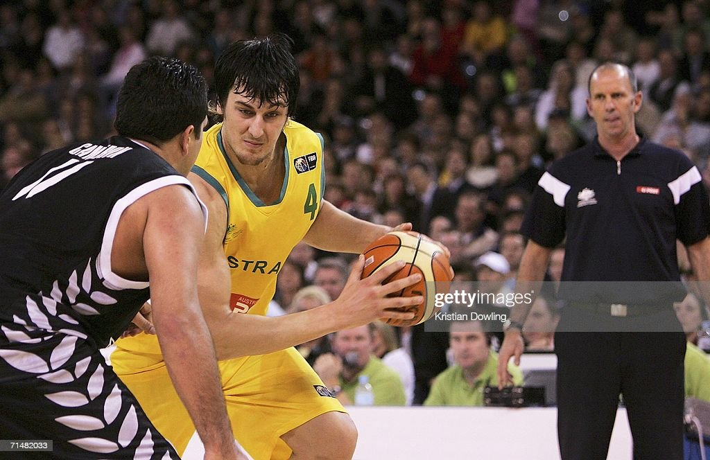 Boomers coach Brian Goorjian looks on as Andrew Bogut of Australia drives the lane during the Resi Mortgage Test Series match between the Australian Boomers and the New Zealand Tall Blacks at Vodafone Arena July 19, 2006 in Melbourne, Australia.