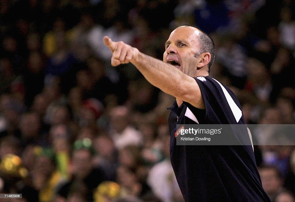 Boomers coach Brian Goorjian yells out to a referee during the Resi Mortgage Test Series match between the Australian Boomers and the New Zealand Tall Blacks at Vodafone Arena July 19, 2006 in Melbourne, Australia.