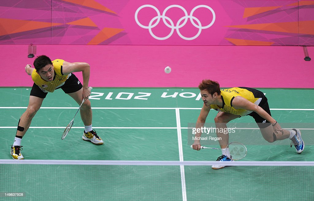 Boon Heong Tan and Kien Keat Koo (R) of Malaysia compete in their Men's Doubles Badminton Bronze Medal match against Yong Dae Lee and Jae Sung Chung of Korea during Badminton on Day 9 of the London 2012 Olympic Games at Wembley Arena on August 5, 2012 in London, England.